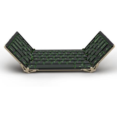 航世(B.O.W)HB099B 无线蓝牙+USB有线三折键盘 ipad平板手机多设备通用办公键盘