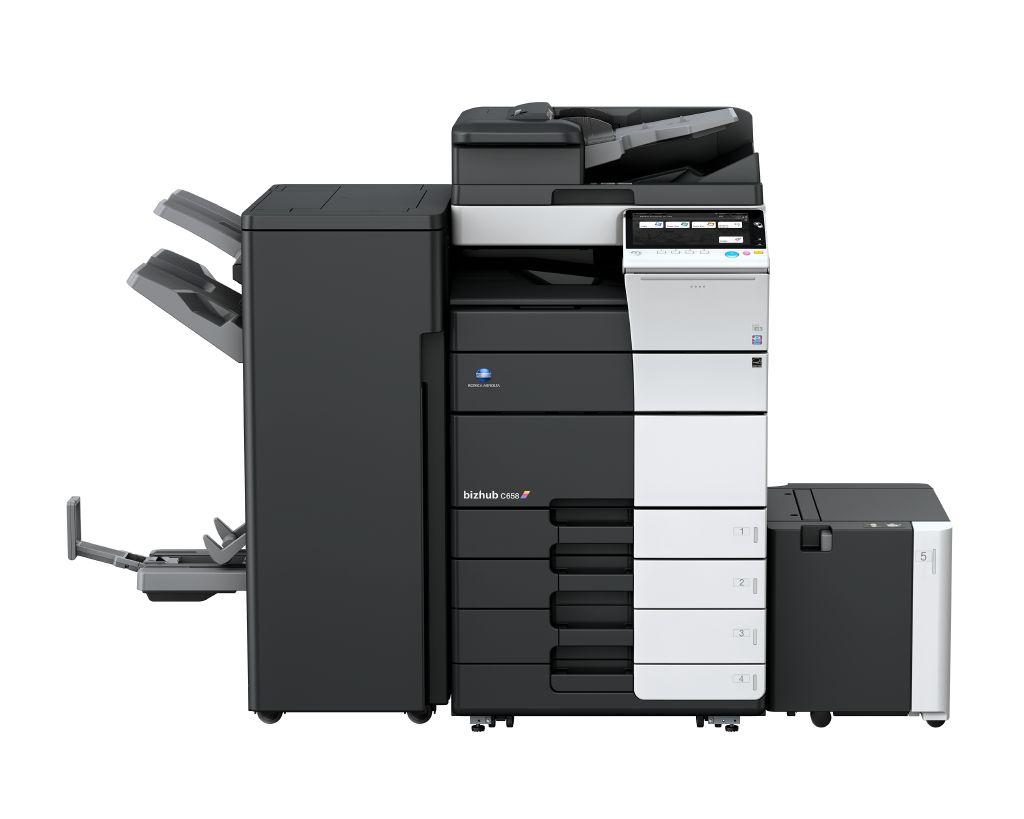柯尼卡美能达彩色复印机bizhubC558(主机+双面器+双面输稿器+内置式装订+大容量纸盒+三年上门服务)