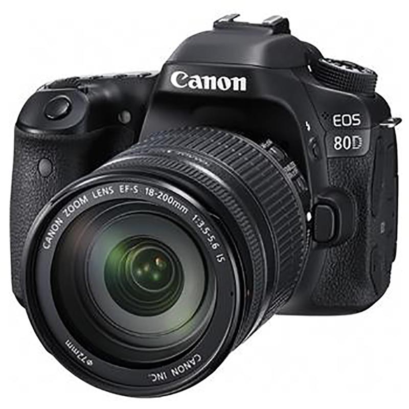 佳能(Canon)EOS 80D 单反套机(EF-S 18-200mm f/3.5-5.6 IS+EF 50mm f/1.8 STM/闪迪 64GB +三脚架+相机包+电池套装+读卡器)
